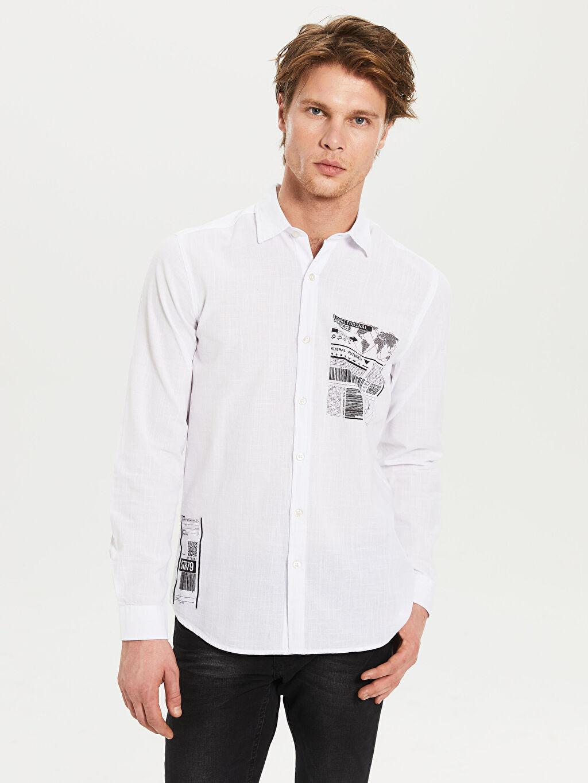 Beyaz Ekstra Slim Fit Desenli Gömlek 0S8348Z8 LC Waikiki
