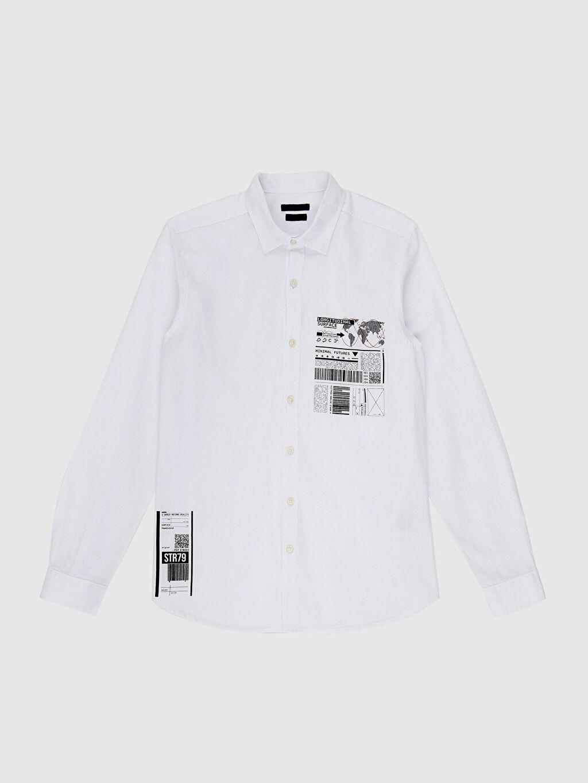LC Waikiki Beyaz Ekstra Slim Fit Desenli Gömlek