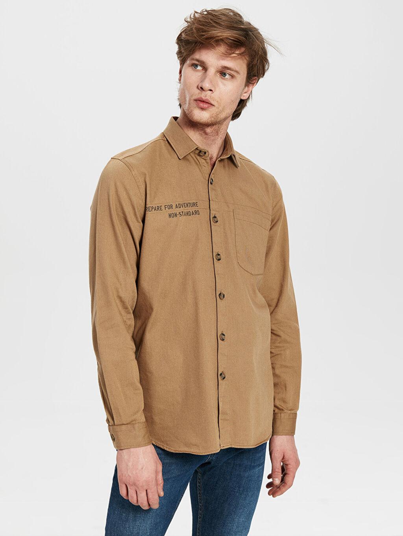 Bej Slim Fit Yazı Baskılı Gabardin Gömlek 0S8349Z8 LC Waikiki