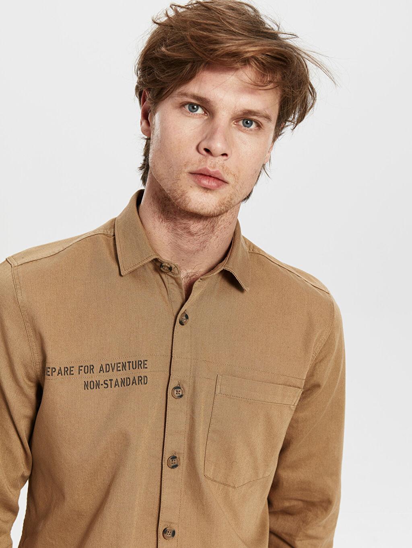 %100 Pamuk Düz Dar Uzun Kol Gömlek Düğmesiz Slim Fit Yazı Baskılı Gabardin Gömlek
