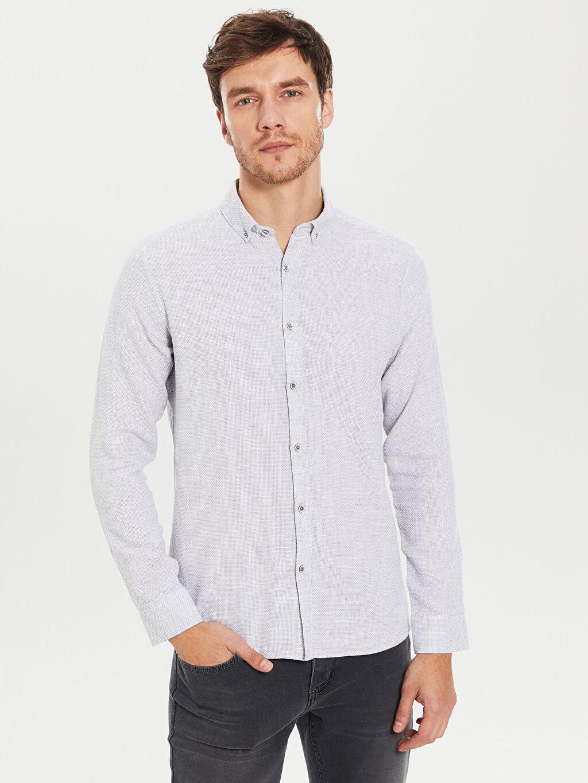 Gri Slim Fit Armürlü Uzun Kollu Gömlek 0S8369Z8 LC Waikiki