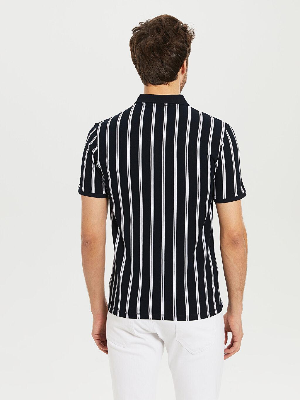 %100 Pamuk Slim Fit Polo Yaka Çizgili Tişört