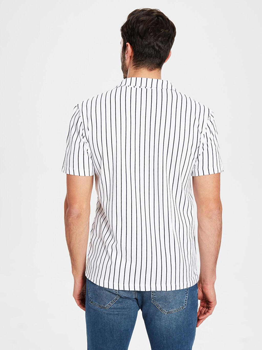 %100 Pamuk Dar Çizgili Kısa Kol Gömlek Düğmesiz Slim Fit Çizgili Kısa Kollu Gömlek