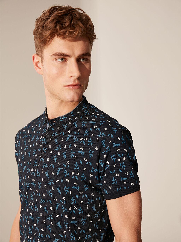 %100 Pamuk Standart Baskılı Kısa Kol Tişört Diğer Düğmeli Yaka Desenli Tişört