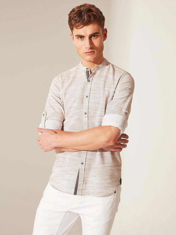 %100 Pamuk Uzun Kol Çizgili En Dar Gömlek Düğmeli Ekstra Slim Fit Kırçıllı Gömlek