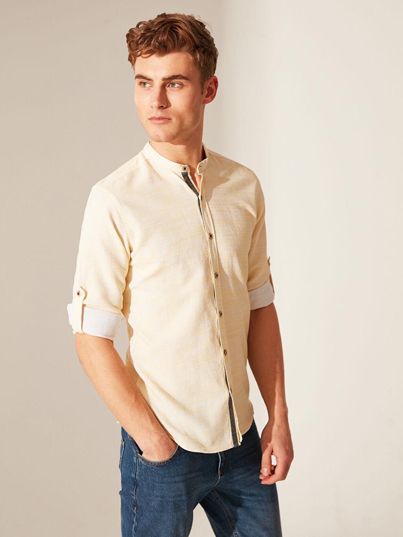 Sarı Ekstra Slim Fit Kırçıllı Gömlek 0S8490Z8 LC Waikiki
