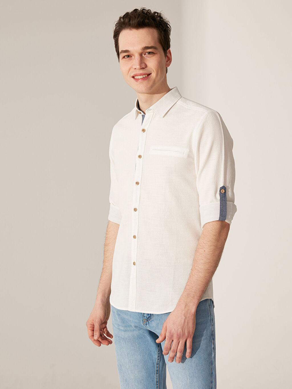 Beyaz Ekstra Slim Fit Armürlü Gömlek 0S8493Z8 LC Waikiki