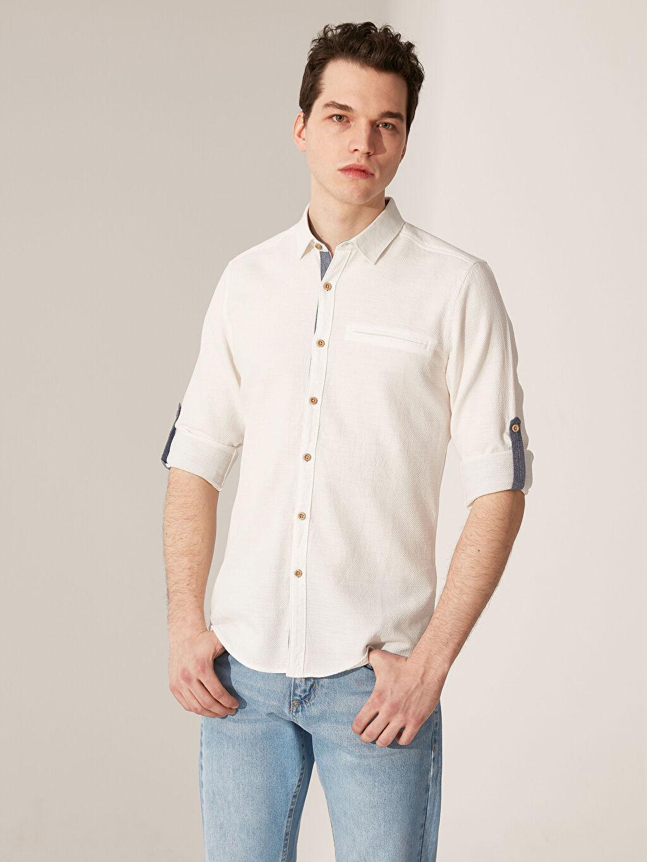 %100 Pamuk Uzun Kol Düz En Dar Gömlek Düğmesiz Ekstra Slim Fit Armürlü Gömlek