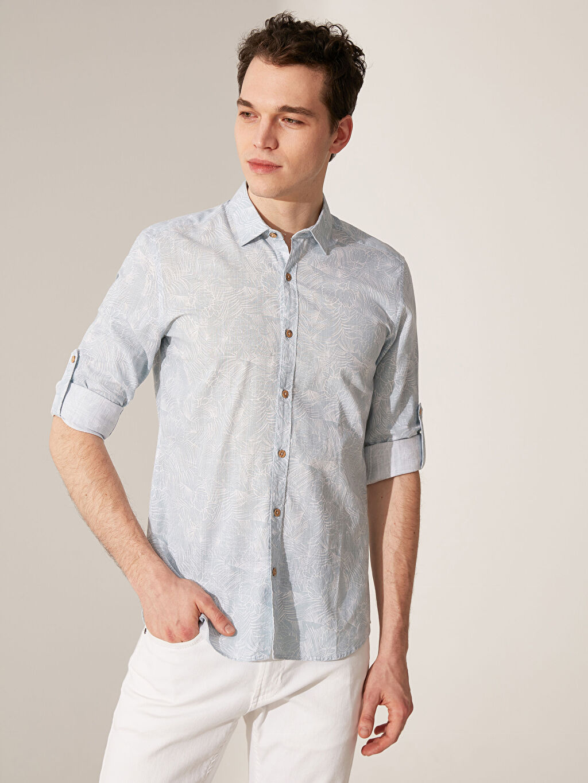 %100 Pamuk Uzun Kol Desenli En Dar Gömlek Düğmesiz Ekstra Slim Fit Desenli Gömlek