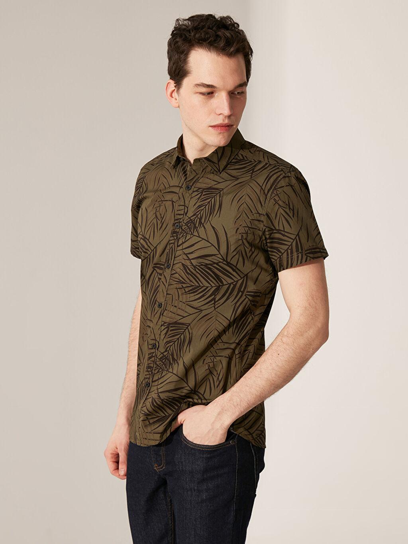 Haki Ekstra Slim Fit Desenli Gömlek 0S8500Z8 LC Waikiki