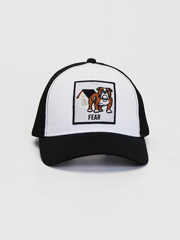 %100 Pamuk  Nakışlı File Detaylı Şapka