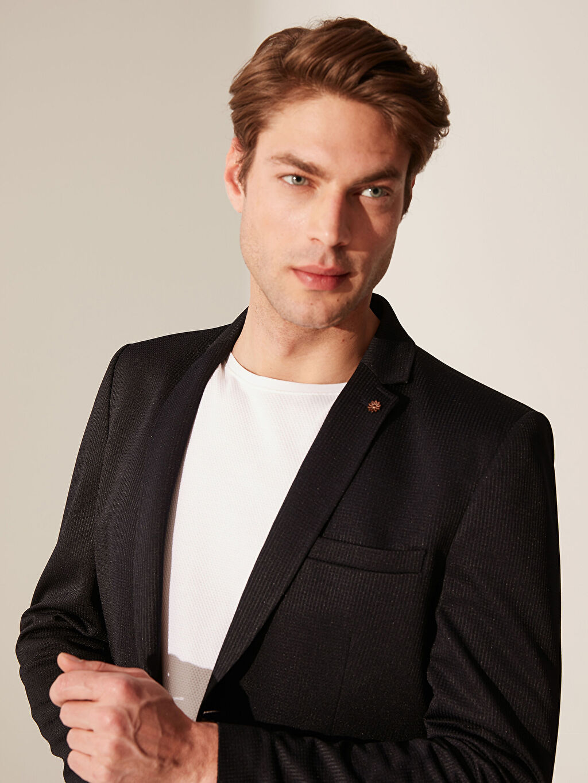 %95 Polyester %5 Elastan %100 Polyester  Slim Fit Dokulu Blazer Ceket