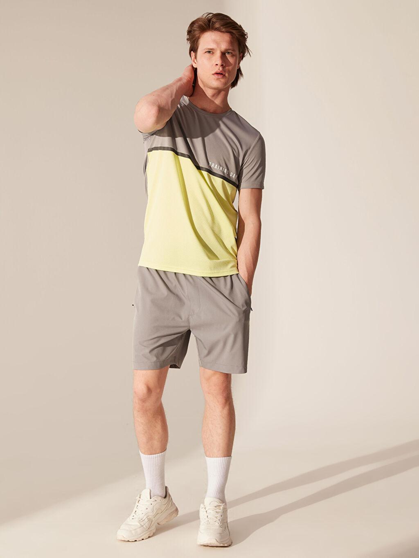 %100 Polyester Renk Bloklu Aktif Spor Tişört