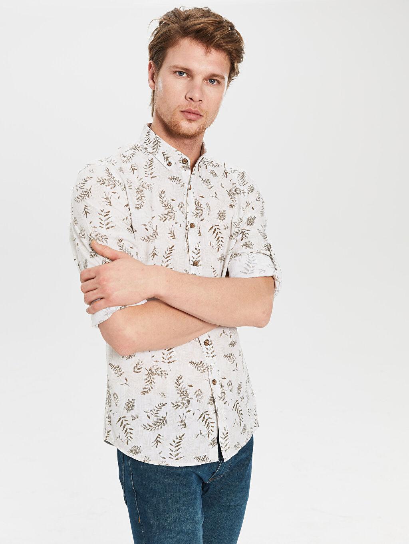 Gri Ekstra Slim Fit Desenli Gömlek 0S8725Z8 LC Waikiki