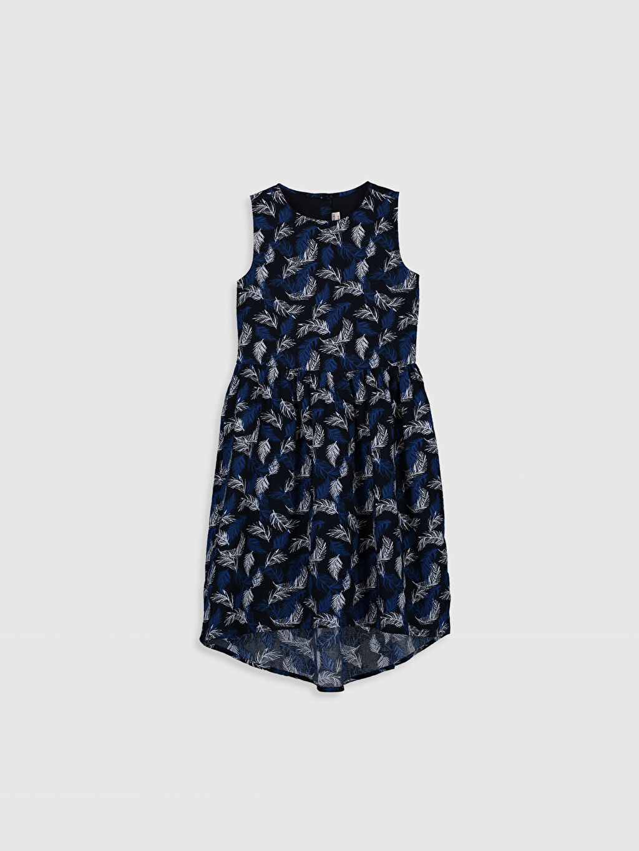 Lacivert Kız Çocuk Desenli Pamuklu Elbise 0S8733Z4 LC Waikiki