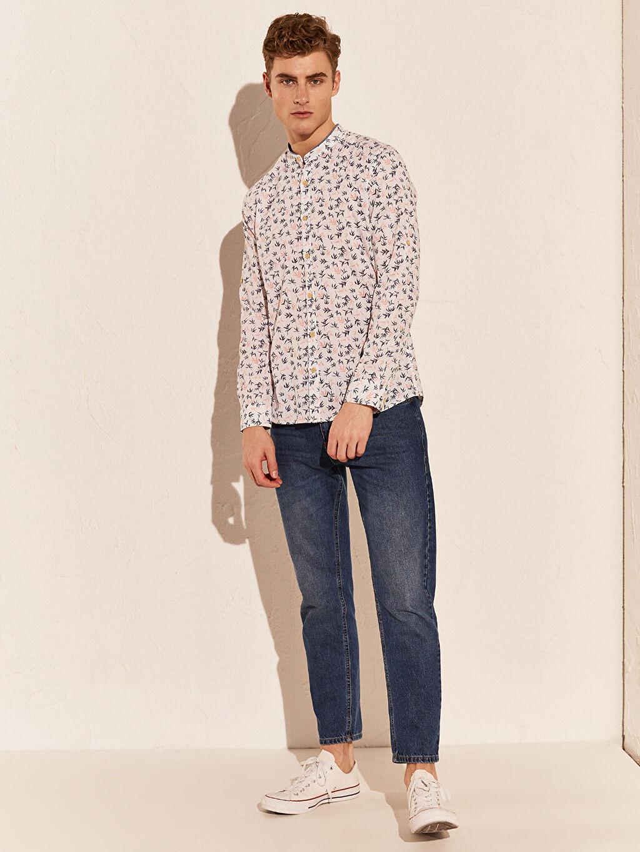 Beyaz Ekstra Slim Fit Desenli Gömlek