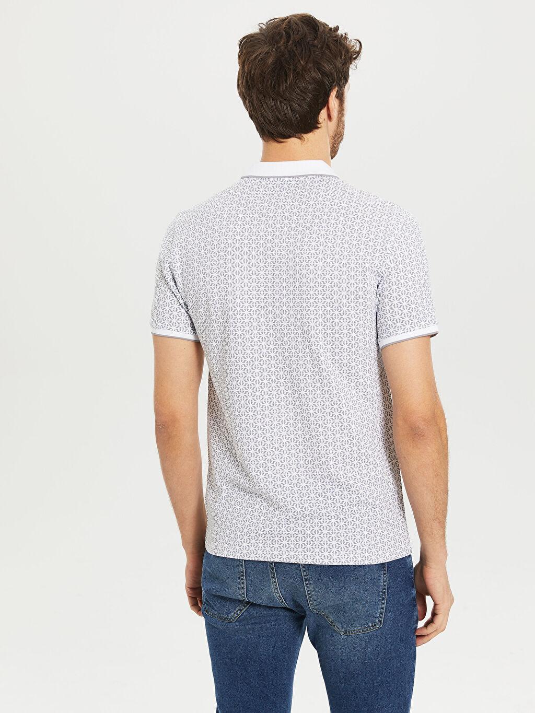 Erkek Slim Fit Polo Yaka Desenli Tişört