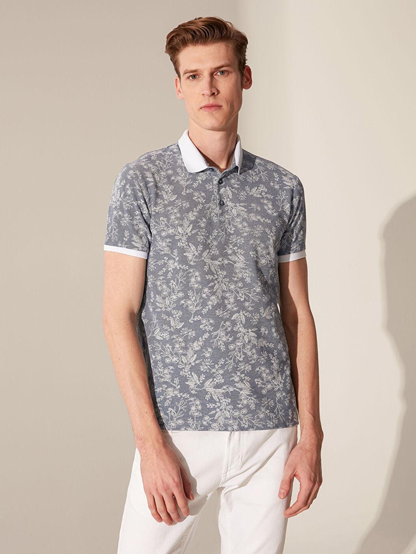 %47 Pamuk %53 Polyester Dar Baskılı Kısa Kol Tişört Polo Polo Yaka Çiçekli Tişört