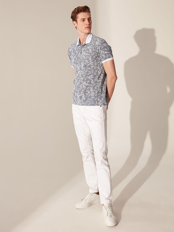 %47 Pamuk %53 Polyester Polo Yaka Çiçekli Tişört
