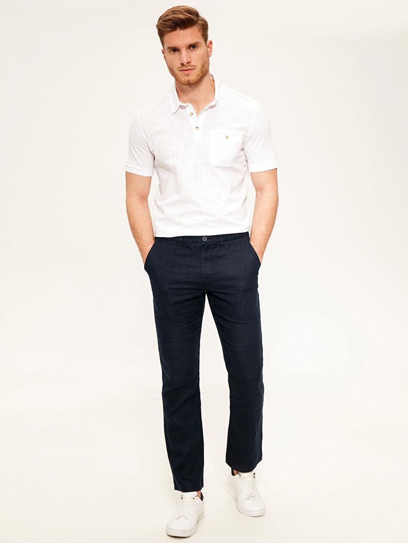 Lacivert Regular Fit Keten Pantolon 0S9241Z8 LC Waikiki