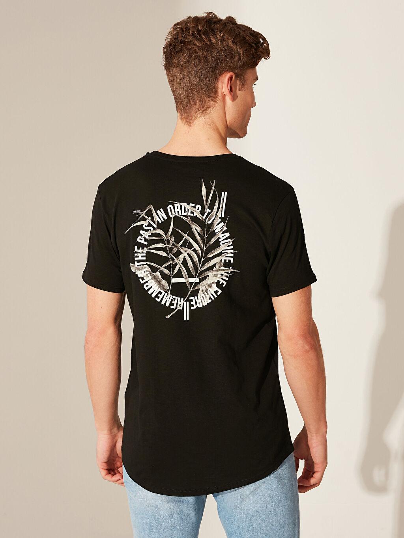 LC Waikiki Siyah Overlong Baskılı Penye Tişört