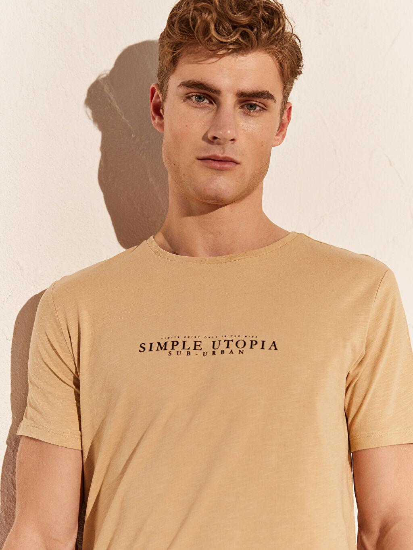 Erkek Overlong Baskılı Penye Tişört