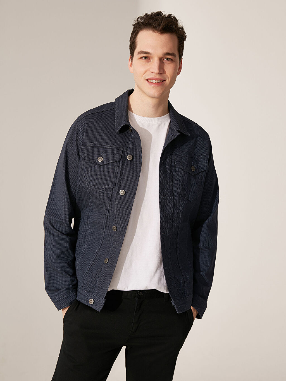 %78 Pamuk %19 Polyester %3 Elastan  Slim Fit Dokulu Ceket