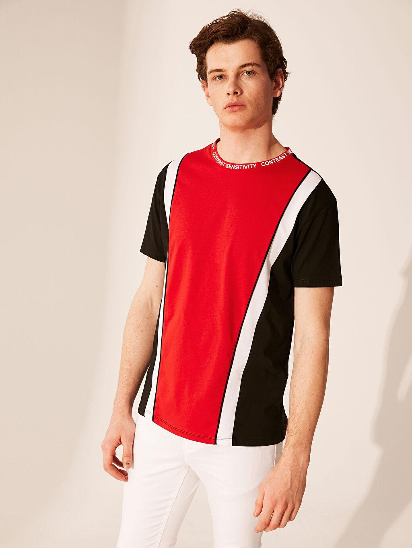 Erkek Bisiklet Yaka Renk Bloklu Tişört