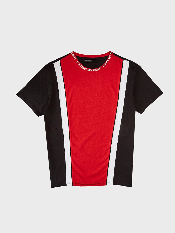 Siyah Bisiklet Yaka Renk Bloklu Tişört
