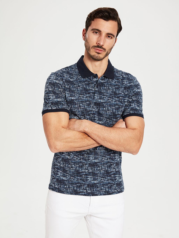 %100 Pamuk Dar Baskılı Kısa Kol Tişört Polo Polo Yaka Desenli Pike Tişört