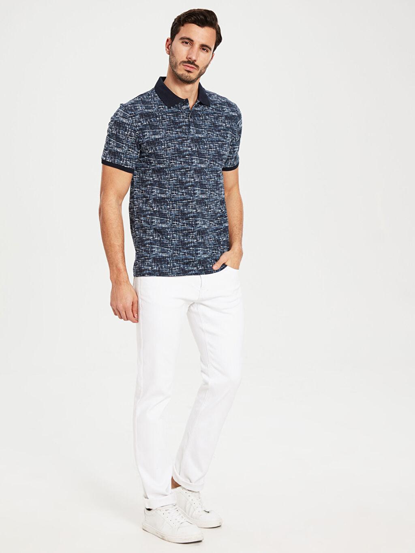 %100 Pamuk Polo Yaka Desenli Pike Tişört