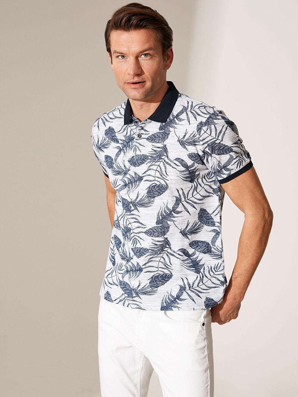 %95 Pamuk %5 Polyester Dar Baskılı Kısa Kol Tişört Polo Yaka Desenli Tişört