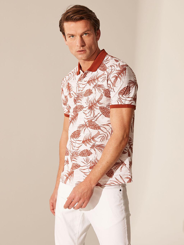 %98 Pamuk %2 Polyester Dar Baskılı Kısa Kol Tişört Polo Yaka Desenli Tişört