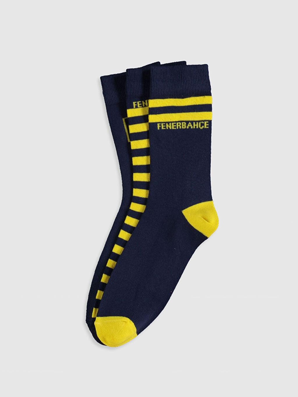 Çok Renkli Fenerbahçe Amblemli Soket Çorap 3'lü 0SG249Z8 LC Waikiki