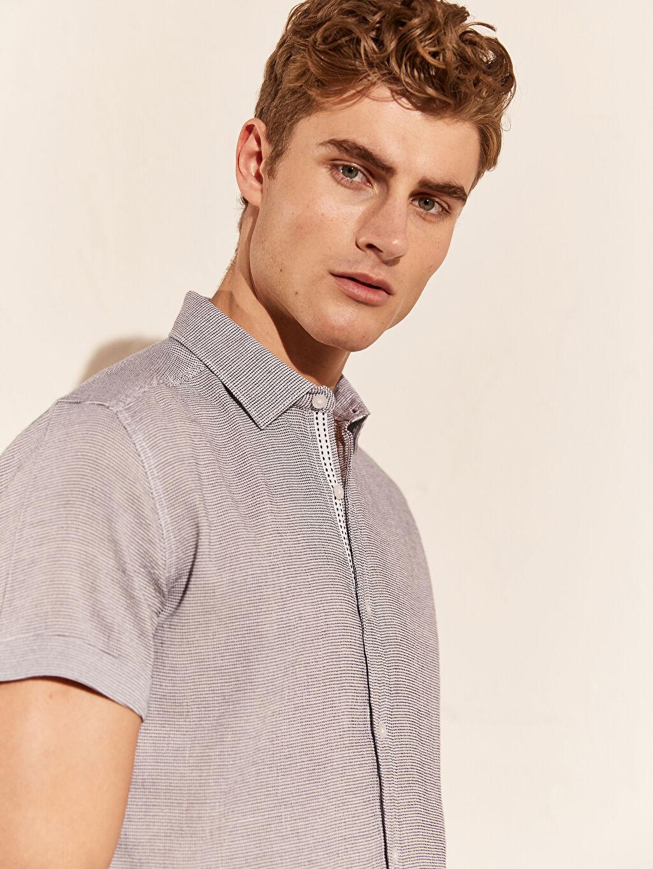 %99 Pamuk %1 Elastan Kısa Kol Düz Gömlek Düğmesiz En Dar Ekstra Slim Fit Kısa Kollu Gömlek