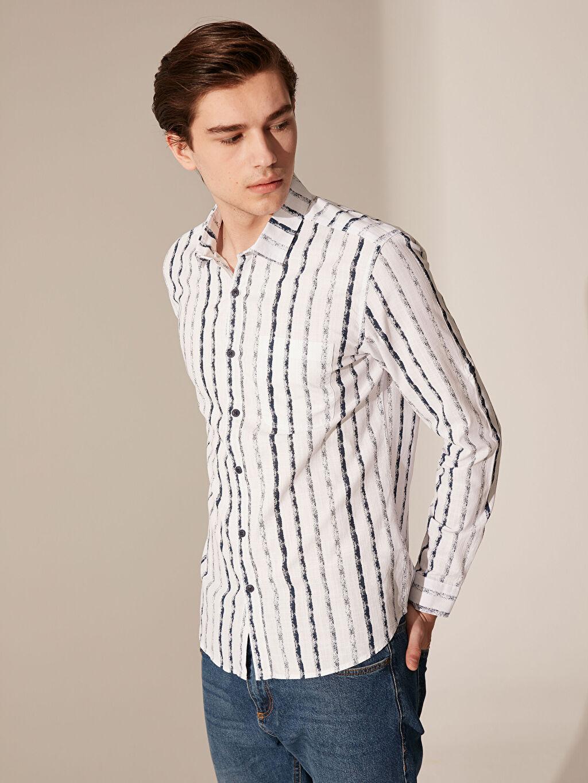 %100 Pamuk Çizgili En Dar Gömlek Düğmesiz Uzun Kol Ekstra Slim Fit Çizgili Gömlek