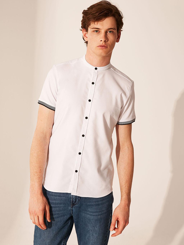 Beyaz Ekstra Slim Fit Armürlü Gömlek 0SG619Z8 LC Waikiki