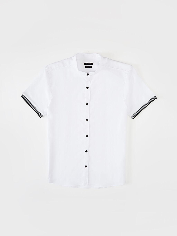 LC Waikiki Beyaz Ekstra Slim Fit Armürlü Gömlek