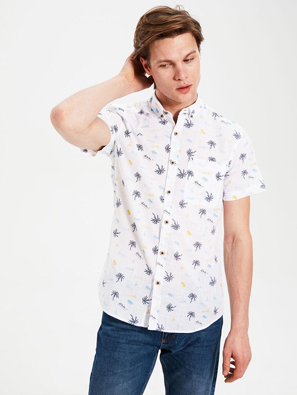%100 Pamuk Kısa Kol Desenli En Dar Gömlek Düğmeli Ekstra Slim Fit Desenli Kısa Kollu Gömlek