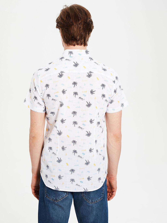 Erkek Ekstra Slim Fit Desenli Kısa Kollu Gömlek