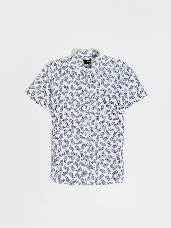 Lacivert Ekstra Slim Fit Desenli Gömlek 0SG622Z8 LC Waikiki
