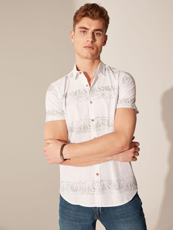 %100 Pamuk Dar Kısa Kol Desenli Gömlek Düğmesiz Slim Fit Desenli Kısa Kollu Gömlek