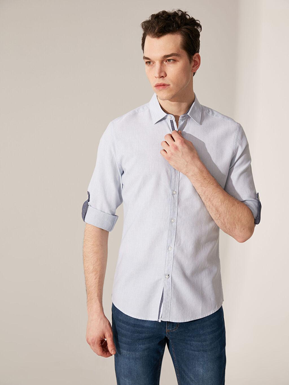 %100 Pamuk Uzun Kol Çizgili En Dar Gömlek Düğmesiz Ekstra Slim Fit Çizgili Gömlek