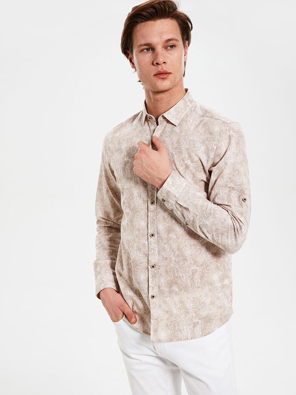 Kahverengi Ekstra Slim Fit Desenli Gömlek 0SG626Z8 LC Waikiki