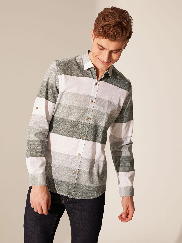 %100 Pamuk Uzun Kol Çizgili Dar Gömlek Düğmesiz Slim Fit Çizgili Poplin Gömlek