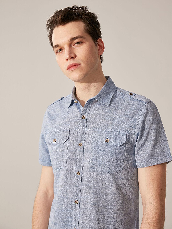 %100 Pamuk Çizgili En Dar Gömlek Düğmesiz Kısa Kol Ekstra Slim Fit Kırçıllı Gömlek