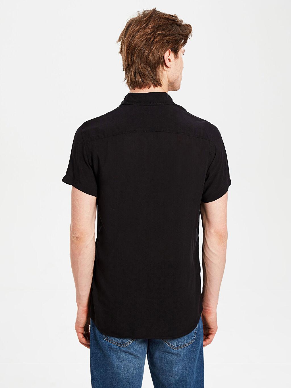 Erkek Slim Fit Basic Kısa Kollu Gömlek