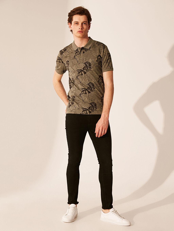 %97 Pamuk %3 Elastan Baskılı Standart Kısa Kol Tişört Polo Polo Yaka Desenli Tişört