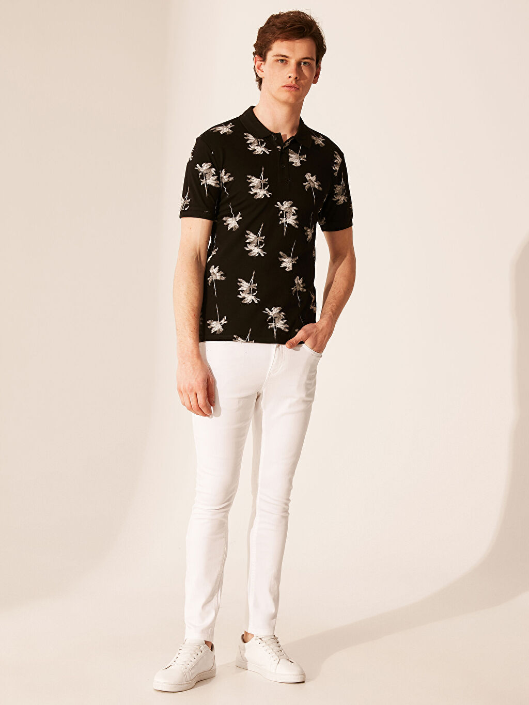 %97 Pamuk %3 Elastan Polo Yaka Desenli Tişört