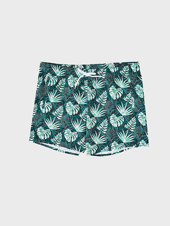 %100 Polyester Diz Üstü Boy Desenli Deniz Şortu